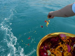 Scatter ashes over the sea.Funeral ceremony.