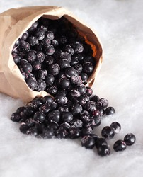 scattered black berries in the snow from a paper bag