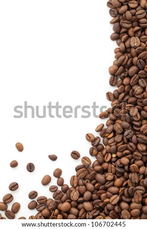 Scattered Coffee Beans on a White background