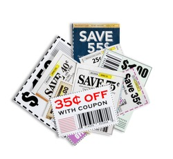 Scattered Coupons/ Close Up/ Isolated On White Background Please note...all coupons showing are not real.  They are fictional.