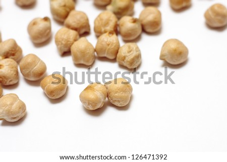 Scattered dried chickpeas