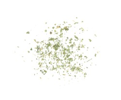 Scattered dried parsley on white background, top view