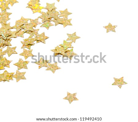 scattered glittering stars confetti isolated on white background