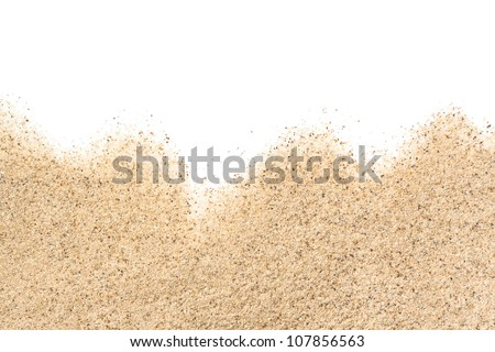 scattered sand on white background
