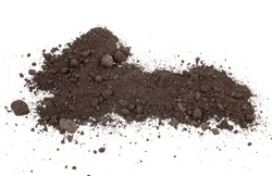Scattered soil on a white background