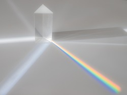 Scattering of a ray of sunlight (white light) through a prism creating refraction, reflection and decomposition of light in the colors of the rainbow