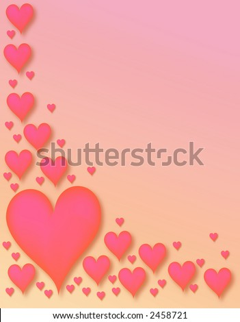 scattering of pink hearts - room for text