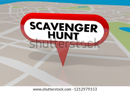 Scavenger Hunt Game Find Hidden Objects Map Pin 3d Illustration Stock photo ©