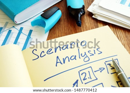 Scenario Analysis with graphs and stack of paper. Foto d'archivio ©