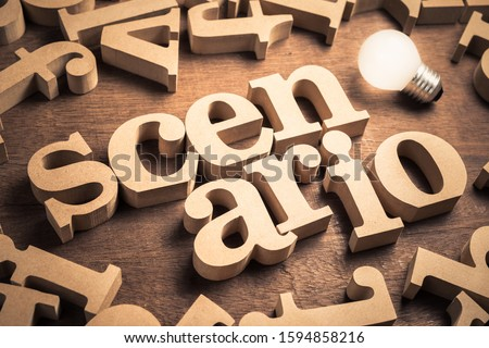 Scenario word in scattered English alpabets with glowing light bulb Foto d'archivio ©