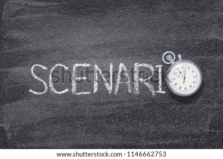 scenario word written on chalkboard with vintage stopwatch used instead of O Foto d'archivio ©