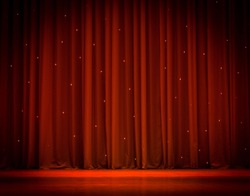 scene, a red curtain theater