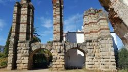 Scene at the aqueduct of San Lazaro in Merida