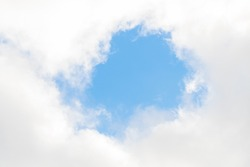Scene bottom view of blue sky with white clouds moving and make shape in circle, beautiful nature in day time, feel soft and smooth and peacefull moment