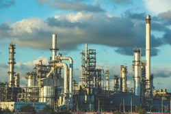Scene evening of tank oil refinery plant tower and column tank oil of Petrochemistry industry blue sky
