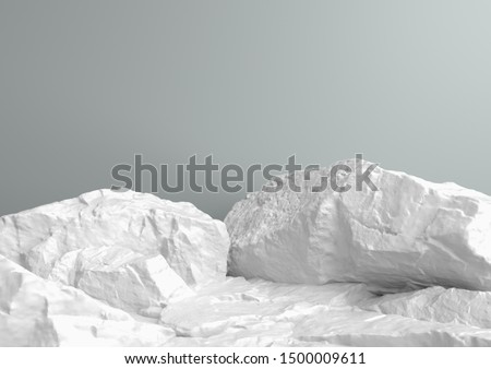 Scene for showcase or cosmetic product presentation, in white pastel colors, 3d rendering.