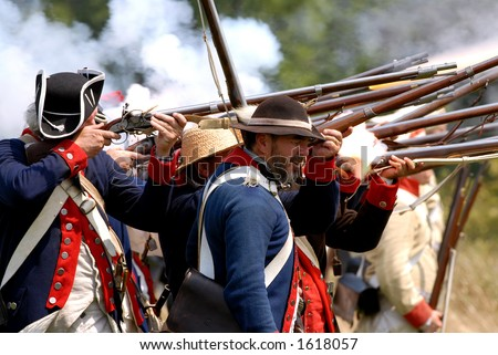 Scene from American Revolution battle re enactment at Fort George, Niagara On The Lake, Ontario, Canada. July 29/2006. The American infantry. - stock photo