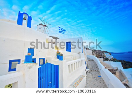 Scene from Oia village on Santorini island, Greece