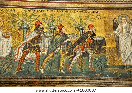 Scene from the nativity. Three kings arrive bearing gifts. an angel is there to receive them in a 1600 year old UNESCO listed mosaic