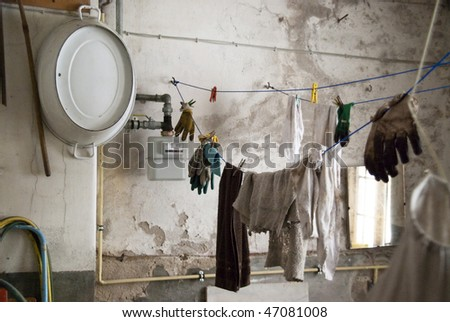 scene in an old cellar room - stock photo