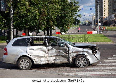 Scene of a car crash