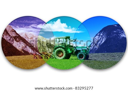 Scene of a tractor in the alps of austria.