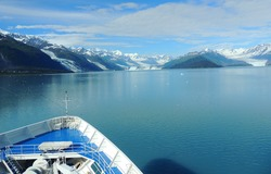Scene of College Fjord, Alaska from a ship.