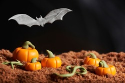 Scene of halloween, bat flying over a sugar paste pumpkin patch, chocolate cake ground, black background, copy space