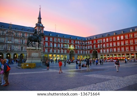 Scene of Plaza Mayor, Madrid - Spain