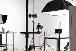 scene of Product photography session in professional photostudio