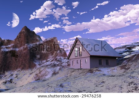 scene of the building in mountain