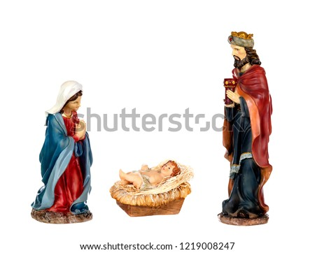 Scene of the nativity: Mary, Baby Jesus and a wise man, Caspar isolated on a white background