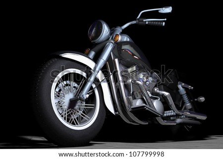 Scene of the old-fashioned motorcycle - stock photo