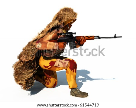 Scene of the sharpshooter on white background