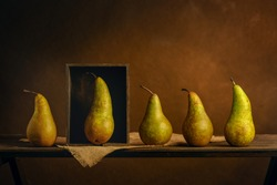 Scene played with pears. Metaphor. Exclusivity concept. Personal boundaries, isolation, quarantine