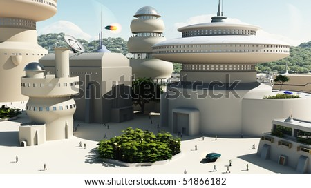 Scene set in a futuristic science fiction town square, 3d digitally rendered illustration