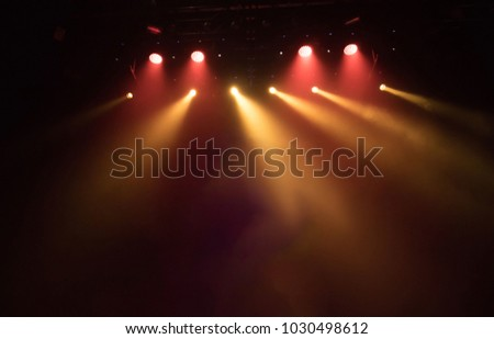 scene, stage light with colored spotlights and smoke #1030498612