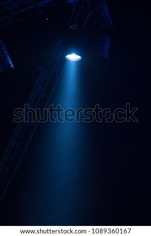 scene, stage light with colored spotlights and smoke #1089360167