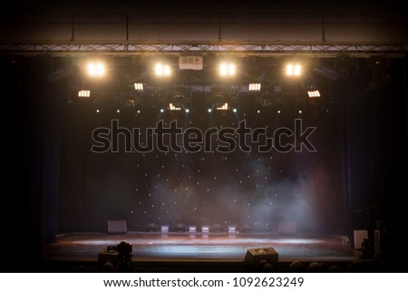 scene, stage light with colored spotlights and smoke #1092623249