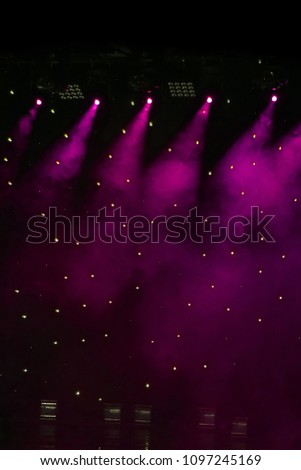 scene, stage light with colored spotlights and smoke #1097245169
