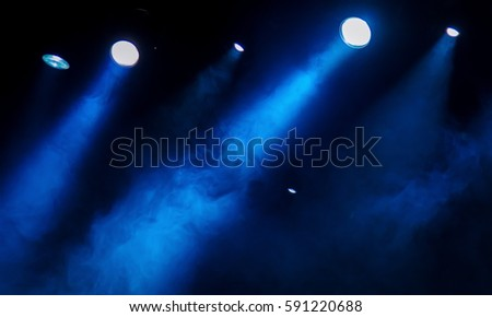 scene, stage light with colored spotlights and smoke #591220688