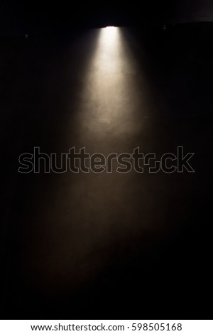 scene, stage light with colored spotlights and smoke #598505168