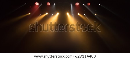 scene, stage light with colored spotlights and smoke #629114408