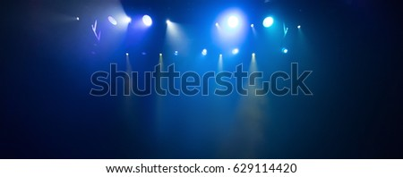 scene, stage light with colored spotlights and smoke #629114420
