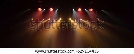 scene, stage light with colored spotlights and smoke #629114435