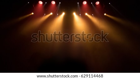 scene, stage light with colored spotlights and smoke #629114468