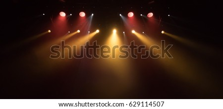 scene, stage light with colored spotlights and smoke #629114507