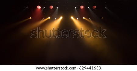 scene, stage light with colored spotlights and smoke #629441633