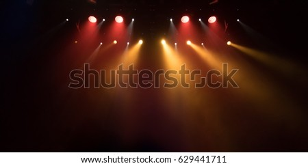 scene, stage light with colored spotlights and smoke #629441711