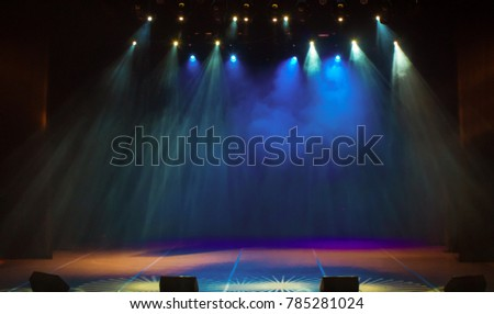scene, stage light with colored spotlights and smoke #785281024